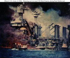 Pearl Harbor Attack in Color | USS Tennessee (BB-43) is inboard of the sunken battleship.