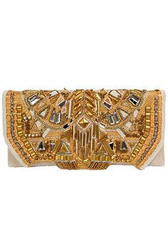 Balmain S/S 2012 Jeweled gold clutch