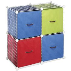 Whitmor White Wire Storage Cubes, Four Cubes Interlocked