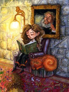 """Hermione Reading"" - illustration  by feliciacano, via deviantART"
