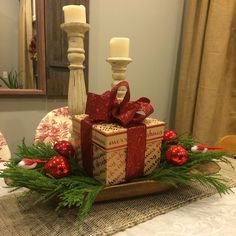 My Christmas dough bowl centerpiece.