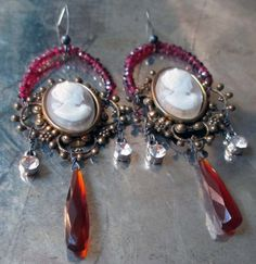 RICHES - vintage assemblage cameo earrings by The French Circus, $69.00