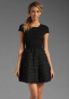 Alice   Olivia Colette Ruffle Bottom Skirt Dress in Black