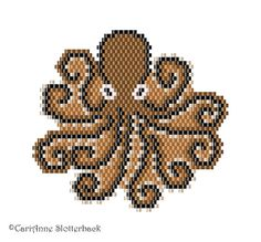 Here is 1 of my original freeform brick/peyote stitch patterns of an octopus. The finished work (using 11/0 Delica beads) measures 2.79-2.49 at the widest & can be used as a pendant, broach, bracelet focal, or sewn on to your favorite accessory.  ►This is a digital PATTERN in PDF format only - NOT a finished product. The file will be directly downloadable through Etsy.  The PDF file includes: • a computer generated illustration of the finished piece • a bead chart with the Delic...