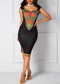 Dashiki Print Black Open Back Sheath Dress