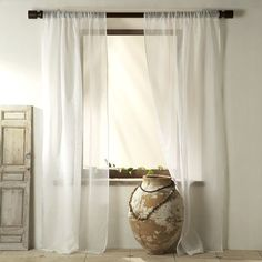 Sheer Linen Window Panel, 63