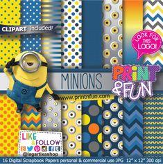 Minions Despicable Me Digital Paper Patterns and FREE Clip art -  #digitalpaper…