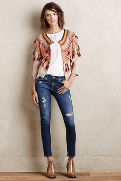 AG Stevie Distressed Ankle Jeans and Guajava Cardigan. Ag Jeans, Ankle Jeans, Designer Jeans For Women, Poncho, Blazer Fashion, A Boutique, Distressed Denim, Passion For Fashion, Dress To Impress