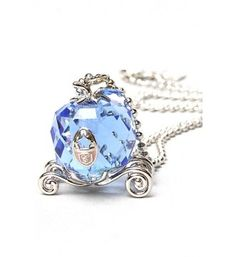 Disney Couture Icon Cinderella Silver & Crystal Carriage Necklace