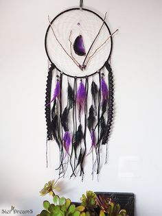 Gothic Dreamcatcher Purple Wall Decor by WickedandLovelyStore Purple Wall Decor, Purple Walls, Beautiful Dream, Dream Catchers, Woodland, Gothic, Creative, Handmade Gifts, Projects