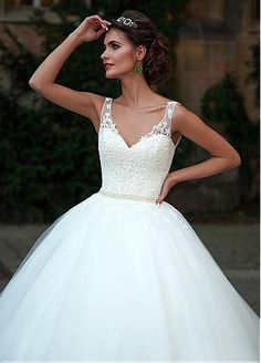 Vestidos de novia vestido de escote de la bola de glamour de tul con cuello en V…