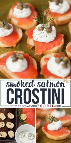 If you're looking for an elegant and tasty yet easy to make appetizer for your next dinner or holiday party, Smoked Salmon Crostini is always a favorite! #crostini #smokedsalmon #creamcheese #jalapeno #caper #easy #bitesized #appetizer Best Fish Recipes, Best Breakfast Recipes, Dip Recipes, Popular Recipes, Seafood Recipes, Snack Recipes, Favorite Recipes, Healthy Recipes, Best Party Appetizers