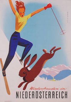 vintage ski poster. Winterfreuden in Niederösterreich Österreich. Hofmann, Walter 1951