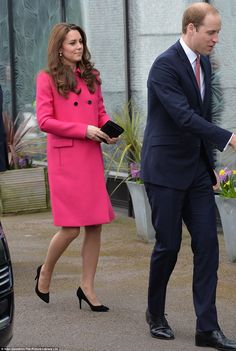 The Duchess of Cambridge looked radiant in £1,500 Mulberry coat as she and William visited...