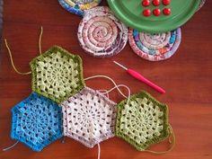 crochet hexagons. Light with dark. Love.