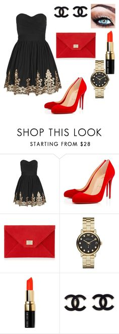 """fashion nigth"" by jenifer-cxcii ❤ liked on Polyvore featuring TFNC, Christian Louboutin, Jimmy Choo, Marc by Marc Jacobs and Bobbi Brown Cosmetics"