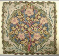 Cushion Cover, Rose Wreath - This is a cushion cover designed by William Morris. William Morris, Textile Design, Textile Art, Art Nouveau, John Everett Millais, St Just, Motifs Textiles, Art And Craft, Motif Floral