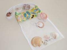 Sea Shell Collecting Bag Girls Flip Flops Beach by DonnaLeeBags, $12.00  I need this - I love hunting shells - GRANDMA style
