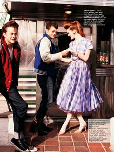 Chic 50s style fashion editorial with Teddy Boys in Glamour UK magazine.  model Esme Wissels/ styled by Charlotte-Anne Fidler/ photographed by Walter Chin
