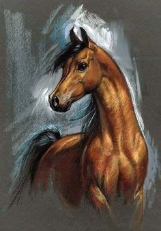 33 Horse Drawing Ideas With Crayon - Art Horse Drawings, Animal Drawings, Art Drawings, Arte Equina, Horse Artwork, Horse Portrait, Pencil Portrait, Crayon Art, Crayon Ideas