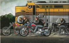 David Mann moto Poster Art Train Ride Sturgis par darkartink