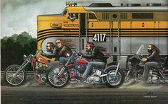 David Mann moto Poster Art Train Ride Sturgis par darkartink                                                                                                                                                                                 More