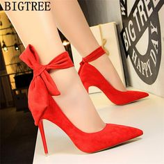 Fashion Women Big Bow Tie Pumps Butterfly Pointed Stiletto Shoes Woman High Heels Wedding Shoes Bowknot Shoes For Lady High Heel Pumps, Stilettos, High Heels Boots, Red High Heel Shoes, Cute High Heels, Stiletto Shoes, Platform High Heels, Lace Up Heels, Red Shoes