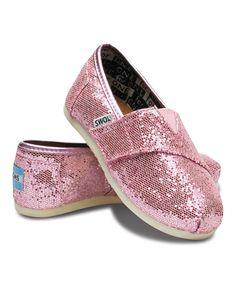 TOMS Pink Glitter Classics - Tiny | zulily