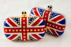Union jack/Union Flag Rivet Skull Clutch Evening Chain Shoulder bag | eBay