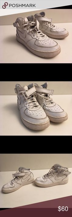 Nike Air Force 1 Mid- Boys Grade School size 7y These Nike Air Force 1 Mid- Boys Grade School  were worn but they look almost good. Only worn a few times. They are a little creased but not very noticeable when worn and aren't very dirty still have a white color. But the inside of the back of shoe has a little blue tint due to jeans tinting it. They have no odor to them. Please make offers only will accept any  reasonable offers ‼️ Nike Shoes Sneakers