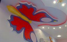 Children's room ceiling decoration Gypsum Ceiling Design, Pop Ceiling Design, Ceiling Decor, Wall Design, House Design, Gypsum Decoration, Plafond Design, False Ceiling Bedroom, Ceiling Medallions