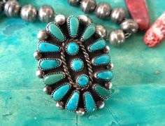 Vintage Turquoise Native American Cluster Ring by MudPonyTraders on Etsy (null)