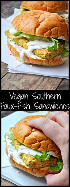 These Vegan Southern Faux-Fish Sandwiches are tofu coated in corn meal and kelp powder, then baked to perfection! Gluten free, delicious and healthy!