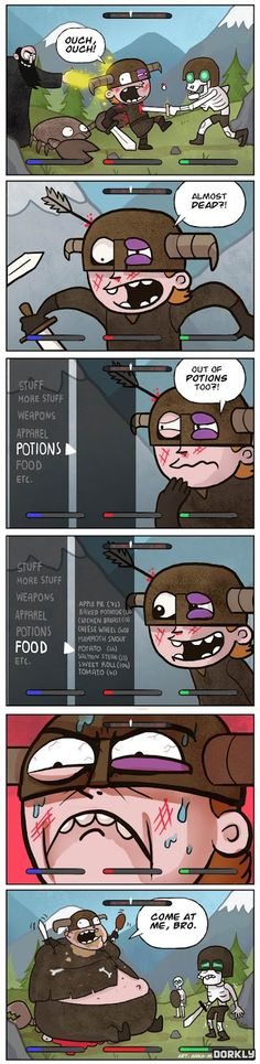 Here is a very funny Skyrim comic. It shows what you do when you run out of potions.