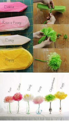 5 flores diferentes según los cortes el borde con papel de seda. Es genial!
