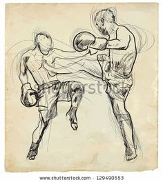 Muay Thai (combat martial art from Thailand) - Kickboxing (group of martial arts from Japan). /// A hand drawn illustration converted into v...