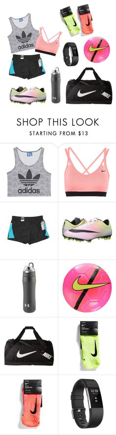 """""""⚽ Soccer practice"""" by icantsleepx ❤ liked on Polyvore featuring adidas Originals, NIKE, Fila, Under Armour and Fitbit"""
