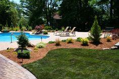 Exterior Photography, NJ, Backyard Pool, Patio next to Pool, Garden Around the Pool, Backyard and Pool, New Jersey