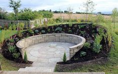 terrace garden A paved, walled sunken garden behind an earth bank to enjoy the sun when things get too windy on the decking. Steep Hillside Landscaping, Sloped Backyard Landscaping, Sloped Garden, Landscaping Ideas, Sunken Patio, Sunken Garden, Terrace Garden, Steep Gardens, Back Gardens