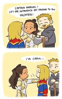 Thor, Carol and Valkyrie Funny Marvel Memes, Dc Memes, Marvel Jokes, Avengers Memes, Marvel Avengers, Baby Marvel, Miss Marvel, Marvel Dc Comics, Marvel Heroes