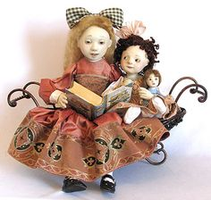 """""""Girls Reading"""" by Lucia Friedericy, Friedericy Dolls (ooak 21 in)"""