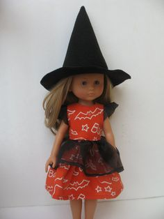Corolle Les Cheries Doll Halloween costume Dress and Witch Hat
