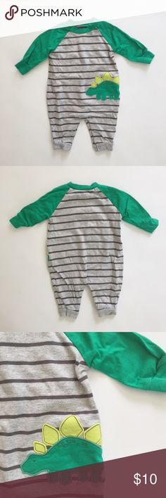 Striped Dinosaur Coverall Jumpsuit Just One You brand by Carter's. Size 3 months. 100% cotton. Gray coverall jumpsuit with green sleeves, black stripes, and a stegosaurus dinosaur. Excellent condition. Carter's Bottoms Jumpsuits & Rompers
