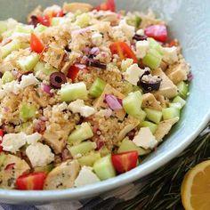 Mmm kenoa salad, cucumbers ,feta, olives, yum!