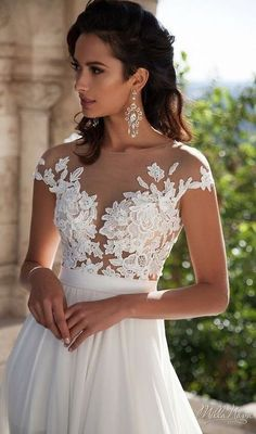 XGSD Womens Beach Wedding Dress Sexy White/Ivory Chiffon Lace Wedding Dress Long Tail Aline Bridal Gown Vestido De Noiva >>> Would like to know a lot more, click the photo. (This is an affiliate link). Chiffon Wedding Gowns, Ivory Lace Wedding Dress, Wedding Gowns With Sleeves, White Wedding Dresses, Bridal Gowns, Dresses With Sleeves, Cap Sleeves, Gown Wedding, Illusion Neckline Wedding Dress