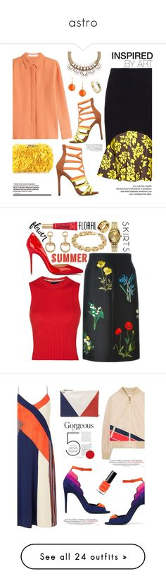 """""""astro"""" by explorer-14695327925 ❤ liked on Polyvore featuring Mary Katrantzou, See by Chloé, Corto Moltedo, Syna, Gucci, Christian Louboutin, STELLA McCARTNEY, Topshop, Calvin Klein and Nixon"""