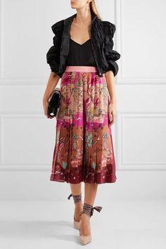 e15d7fe2b0e7 Valentino - Pleated printed silk crepe de chine midi skirt