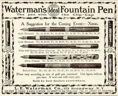 1906 Ad Waterman's Ideal Fountain Pen Clip-Cap 173 Broadway Writing Utensil Nib - Original Print Ad for Like the 1906 Ad Waterman's Ideal Fountain Pen Clip-Cap 173 Broadway Writing Utensil Nib - Original Print Ad?