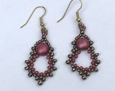 Rose Beadwoven Drop Earrings