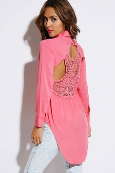 #1015store.com #fashion #style coral cut out crochet back button up high low blouse top-$15.00